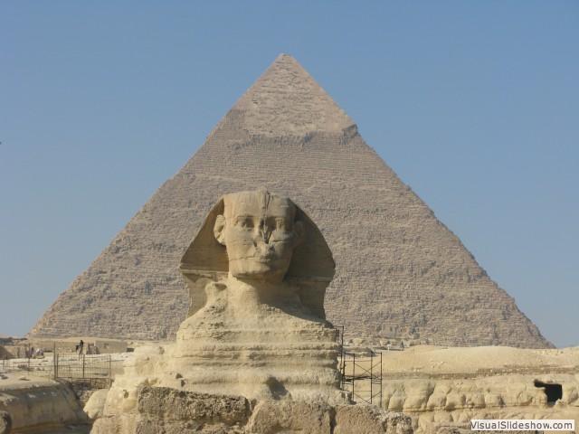 Sphinx and Khafre Pyramid, Giza, Egypt